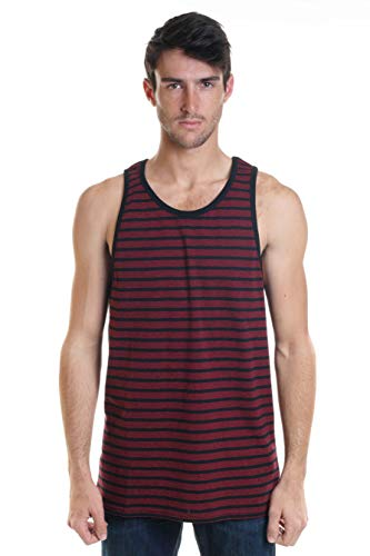 (YAGO Men's Striped Sleeveless T-Shirt Top Black/Red)