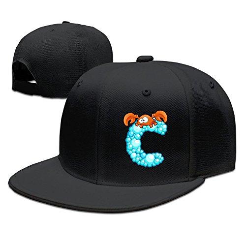 ZOENA Cute Cartoon Ocean Alphabet C Cotton Hats Golf Cap For Outdoor Sports Black -