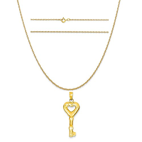 14k Yellow Gold Puff Heart Key Pendant on a 14K Yellow Gold Carded Rope Chain Necklace, 16