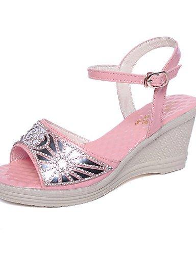 LFNLYX Zapatos de mujer-Tacón Cuña-Punta Abierta-Sandalias-Vestido-Semicuero-Negro / Rosa / Plata Black