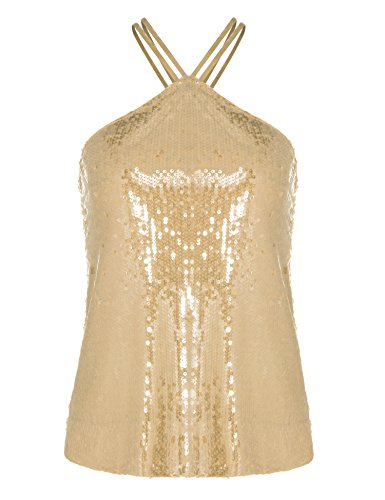 Evening Gold Shimmer - Dealwell Womens Sleeveless Glitter Sequin Shirt Shimmer Sparkle Strappy Camisole Tank Top (Gold, XXL)