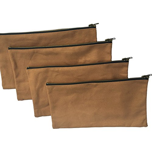 Heavy Duty 16 oz. Canvas Tool Bags with Metal Zippers, Multi Purpose Waterproof Smart Storage Pouches - Utility Tool Organizer Pack of 4, Best for Handymen Repairmen Woodworker (khaki, Pack of 4) by Hense