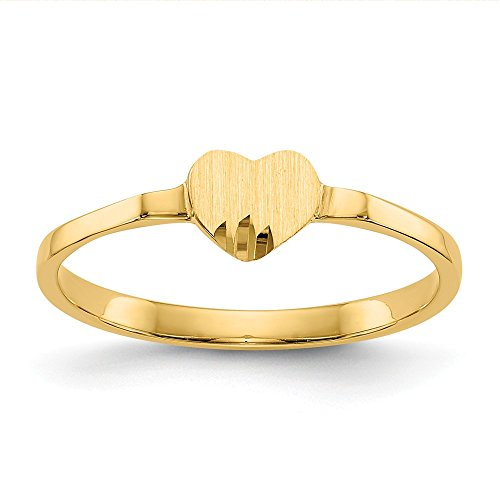 (14k Yellow Gold Heart Signet Band Ring Size 4.00 S/love Fine Jewelry Gifts For Women For Her)