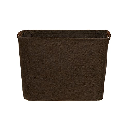 Household Essentials 601 Medium Shelf Basket with Wood Handles - Multi-Purpose Home Storage Bin - Brown Coffee Linen