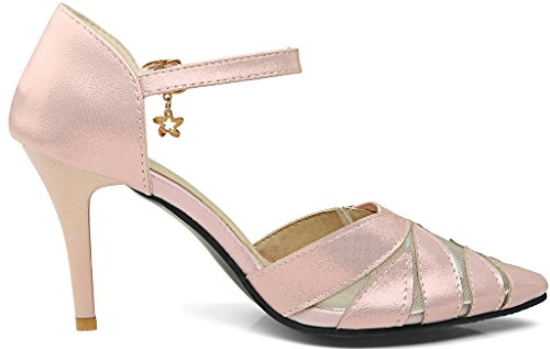 Calaier Women Salbs Pointed-Toe 8CM Stiletto Buckle Sandals Shoes Pink 7JsjiY