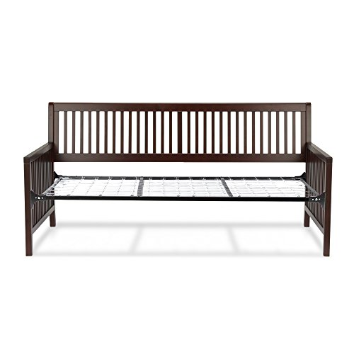 Fashion Bed Group Mission Complete Wood Daybed with Open-Slatted Panels and Link Spring, Espresso Finish, Twin