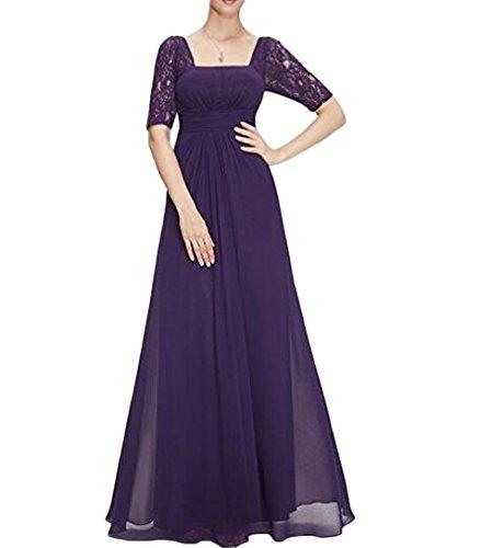 Bowith Moitié Manches Dos Nu Ruché Bal Robe De Soirée Taille Fête Vêtements Violet