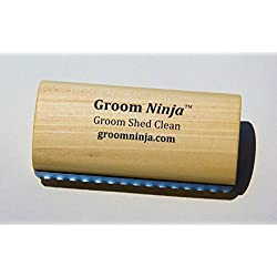 """Groom Ninja (Medium 5.25"""", Best Grooming, Shedding, Deshedding, Cleaning, Pro Wooden, Brush Tool for Pets, Dogs, Cats, Horses, Rabbits, Made in USA"""