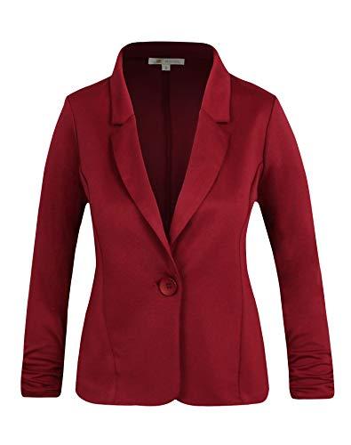 Michel Women's Casual Work Office Blazer Solid Color Single Button Up Jackets Burgundy Medium (Blazer Color)