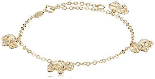 14k Gold Elephant Charm (14k Yellow Color Gold Elephant Charm Bracelet, 7.5