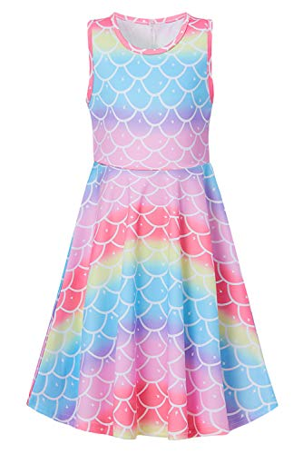 Goodstoworld Summer Dresses for Girls Pink Red Mermaid Dress Rainbow Fish Scale Sleeveless Casaul Church Party Twirl Dress School Student Stylish Colorful Midi Dress 10-13 Years -