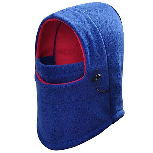 SANOMY - Máscara de pasamontañas térmica con Capucha de Forro Polar para Bicicleta, Resistente al Viento, para esquí, Snowboard, Sombreros, Azul, Talla única