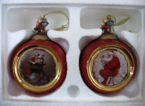 The Bradford Editions Norman Rockwell Ornaments (Set of Two): Santa Reading Mail and Extra Good Boys and Girls - Bradford Edition Ornaments