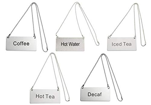 (Update International Stainless Steel Table Tent Chain Sign Bundle of 5 | Coffee - Decaf - Hot Water - Hot Tea - Iced Tea | 3 1/2