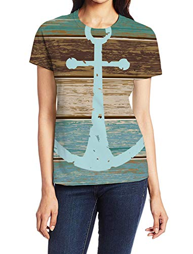 Women's Basic T-Shirt Blue Nautical Anchor Rustic Old Barn Wood Lady Casual Tops Graphic Print Summer Tees Vacation Shirt XL