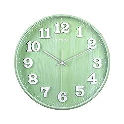 Guten 14 Silent Non Ticking Large Wall Clock, Wood Grain Quartz Wall Clock,Battery Operated, Modern Decorative Clock for Living Room Bedroom School Office (Morandi Green)