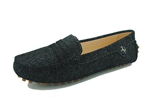 Minitoo - Mocasines de ante para mujer Cloth-Black