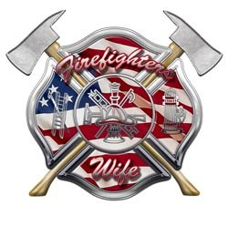 American Flag Maltese Cross Firefighters Wife Decal - 2