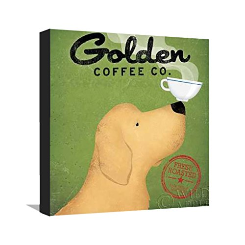 Golden Coffee Co - Fine art print on Matte Canvas stretched as Gallery wrap with black border - 12 x 12 - Ready to hang