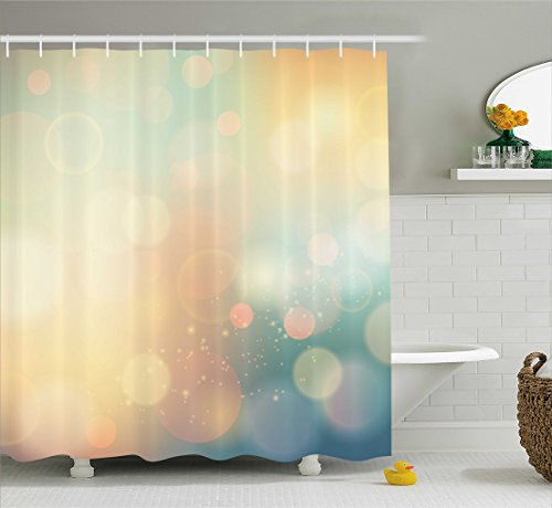 Abstract Shower Curtain by Ambesonne, Under Sea Ocean Sea Inspired Image with Sunbeams Like Details Print, Fabric Bathroom Decor Set with Hooks, 70 Inches, Dark Blue and Light Green (Inspired Decorations Sea Christmas)