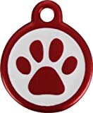 Red Dingo QR Red Pet Tag, Pawprint, Small