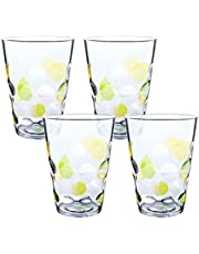 Topsky Clear Acrylic Plastic Water Tumblers, 350ml Drinking Cup Dishwasher Safe Bathroom Cups Camping Portable Cups (Green)