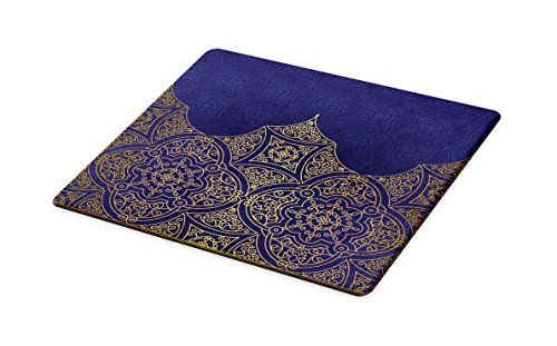 Lunarable Indigo Cutting Board, Middle Eastern Style Ornament Ottoman Moroccan Cultures Inspired Filigree Pattern, Decorative Tempered Glass Cutting and Serving Board, Large Size, Gold Indigo