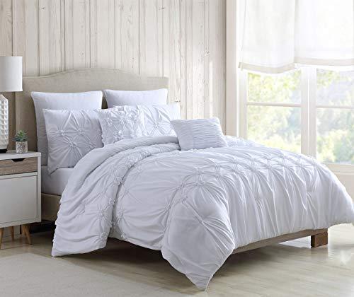 S.L. Home Fashion 7 Piece Juliette White Comforter Set Queen