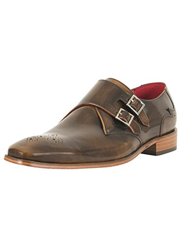 Jeffery West Uomo Scarface Scarpe in pelle lucidata, Marrone Marrone