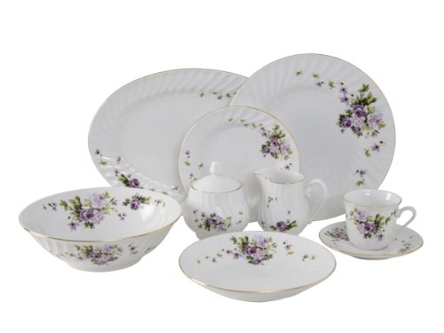 (Ciera 45-Piece Lucinda Dinner Set with Gold Trim; Vintage Floral)