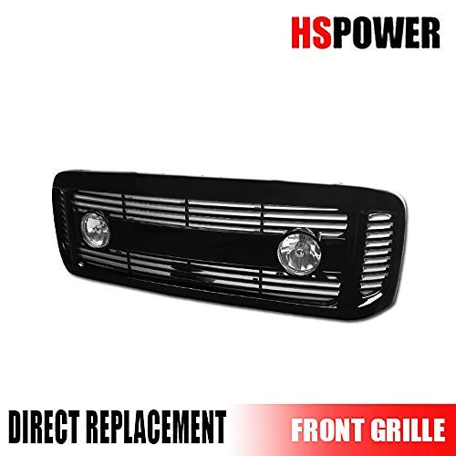 Hs Power Glossy Black 1999-2004 for Ford F250 / F350 Luxury Sport Mesh Horizontal Front Hood Bumper Grill with Fog Lights