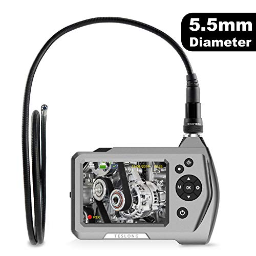 Industrial Endoscope, Teslong Ultra Slim Borescope with 5.5mm Micro Inspection Camera, Waterproof Semi-Rigid Gooseneck, 3.5inch LCD Screen, 6 LED Lights, Lithium-Ion Battery, Tool Box(1m/3.28ft)