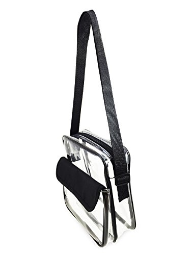 Clear Black Bag Purse Adjustable Bag Messenger Stadium Strap Clear Transparent Approved with Event Shoulder FOxIqEwIP