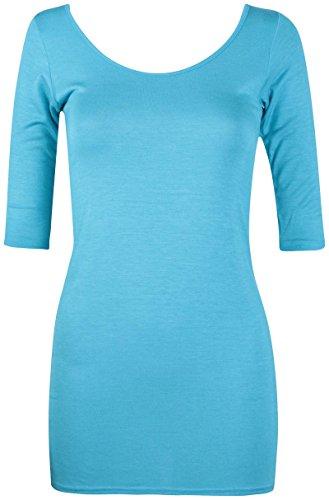 Damen U-ausschnitt Damen Stretch Kurzärmel Bodycon Lang Einfarbig Tunika T-Shirt Top - Türkis, 40-42