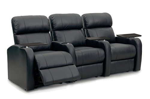 Octane Seating Diesel XS950 Home Stadium Seats Black Leather - Memory Foam - Accessory Dock - Manual Recline - Straight Row of 3 Chairs (Leather Theater Recliner Match 3)