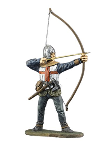English Longbow Battlefield Archer Hand Painted Tin Metal 54mm Action Figures Toy Soldiers Size 1/32 Scale for Home Décor Accents Collectible Figurines ITEM - Hand Painted Tin