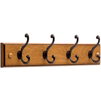 Liberty 128738 Four Hook 18 Inch Wide Wooden Hook Rail/Coat Rack