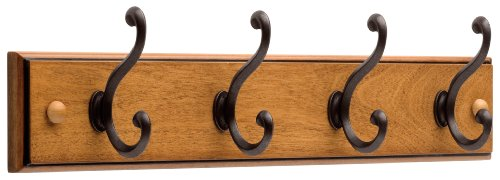Liberty Hardware 128738 1 Wooden Rail/Coat Rack with 4 Scroll Hooks, 18