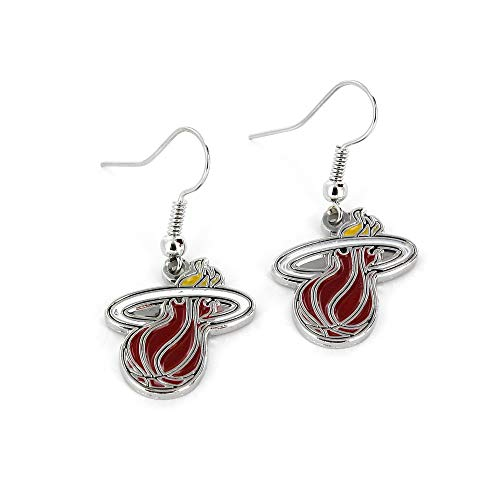 Miami Heat Glass - NBA Miami Heat Logo Dangler Earrings