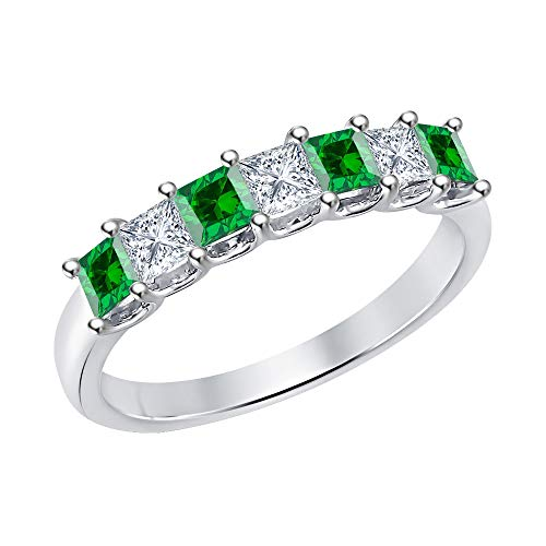 (Princess Cut Emerald & Diamond Half Eternity 14k White Gold .925 Sterling Silver Wedding 7-Stone Band Ring for Women)