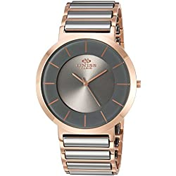 Oniss Paris Men's 'SLIM COLLECTION' Swiss Quartz Stainless Steel and Tungsten Dress Watch, Color:Grey (Model: ON5555-66M)