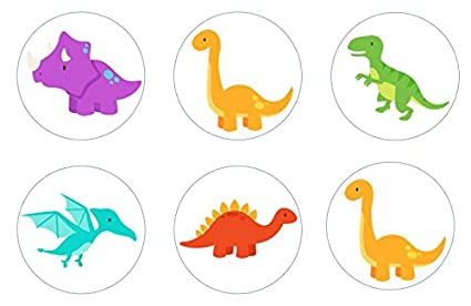 Retro Dinosaurs Edible Cupcake Toppers Decoration Home & Garden Other Baking Accessories