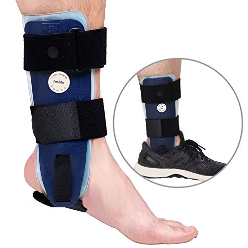 Post Air - Velpeau Ankle Brace - Stirrup Ankle Splint - Adjustable Rigid Stabilizer for Sprains, Strains, Post-Op Cast Support and Injury Protection (Gel Pads, Teens - Right Foot)