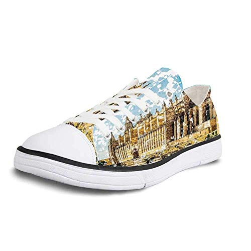 Canvas Sneaker Low Top Shoes,Gothic Decor Big Gothic Building Sea Shore Cathedral of Palma De Mallorca View from Road Women 5