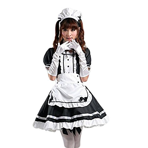 AvaCostume Women's Anime Cosplay French Apron Maid Fancy Dress Costume XXXL Black -