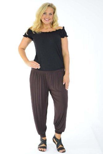 Nouvelle Women's Harem Ali Baba Full Length Yoga Trousers Brown US Size 16-18