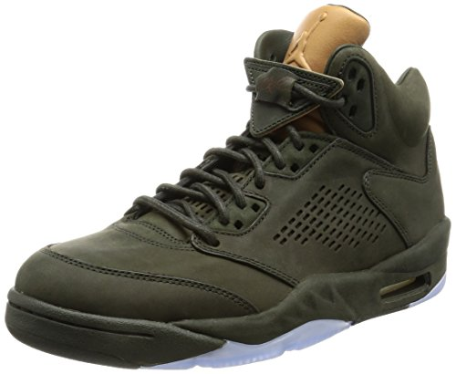 Nike Mens Air Jordan 5 Retro Prem ''Take Flight'' Sequoia/Gold Leather Size 9 by NIKE