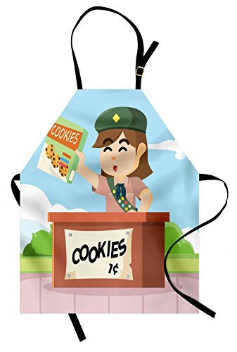 (Lunarable Girl Scouts Apron, Cartoon Bake Sale Illustration with a Scout Girl with Badges Selling Cookies, Unisex Kitchen Bib Apron with Adjustable Neck for Cooking Baking Gardening, Multicolor)