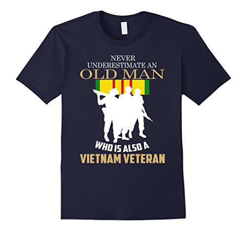 Men's Never underestimate OLD MAN is VIETNAM VETERAN TShirt 2XL Navy