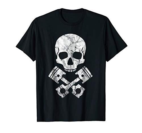 Motorcycle Hot Rod Skull and Cross Bones - Piston T-Shirt ()